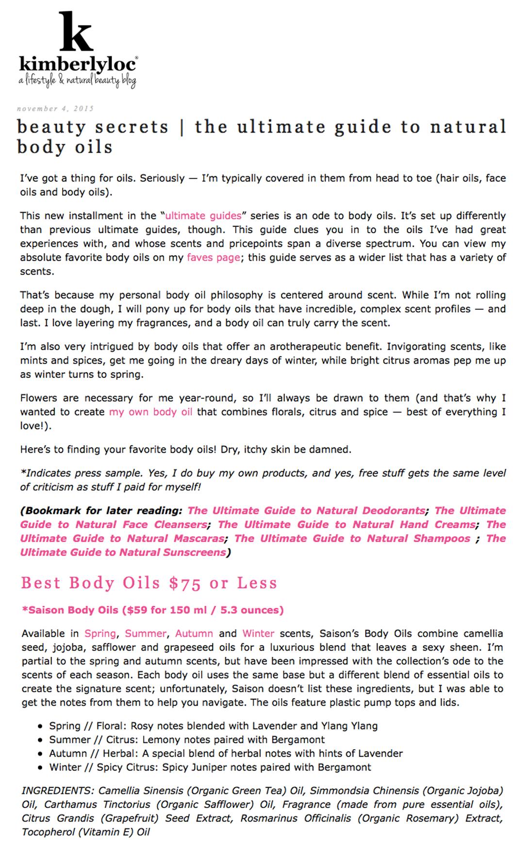 Saison Body Oils In Kimberly Loc Blog