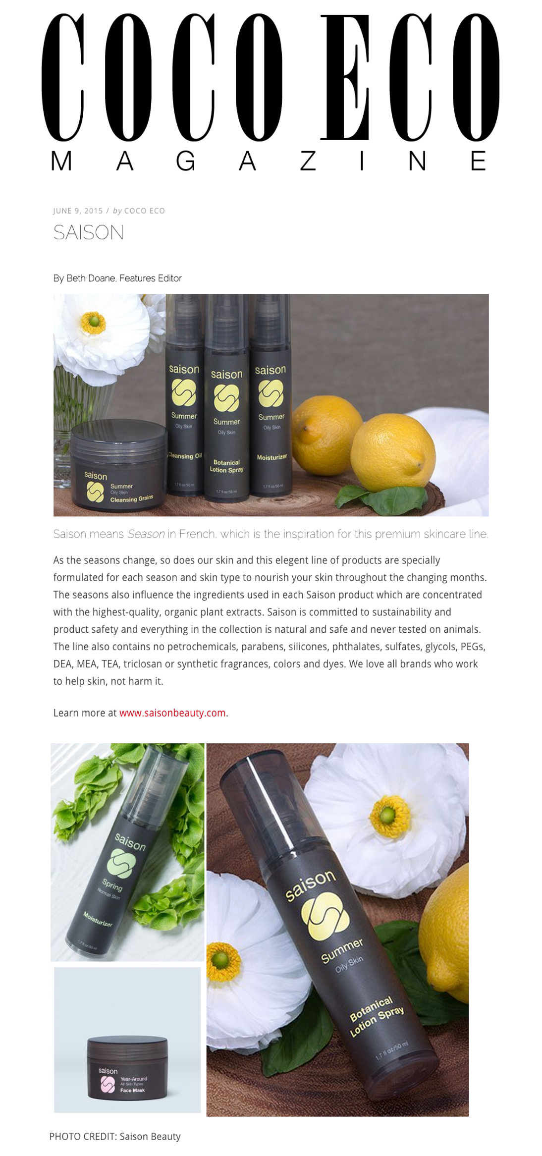 Saison Summer Collection in CocoEco Magazine - Elegant Skincare