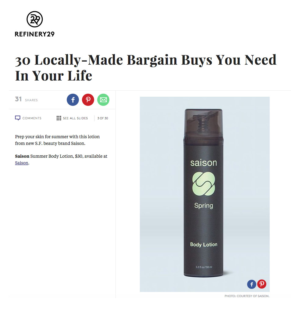 Saison Summer Body Lotion - locally made in SF - in Refinery29